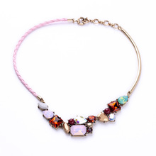 Fashion Women Boutique Costume Jewelry New Lady Accessories Hot Leather Chain Pink Opal Gems Stone Zircon Stone Collar Necklace