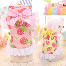 Outwear Winter Warm Dog Jacket Pink Yellow Color Soft Material Jackets for Pet Clothes with Strawberry Printing Clothes for Dogs(China)
