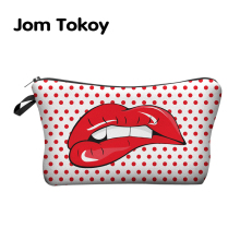 Jom Tokoy 3D Printing Makeup Bags With Multicolor Pattern Cute Cosmetics Pouchs For Travel Ladies Pouch Women Cosmetic Bag(China)