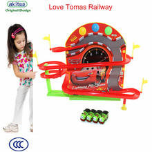 akitoo School bus racing magnetism on the wall rail car electric track light music magnetic Thomas track early education toys