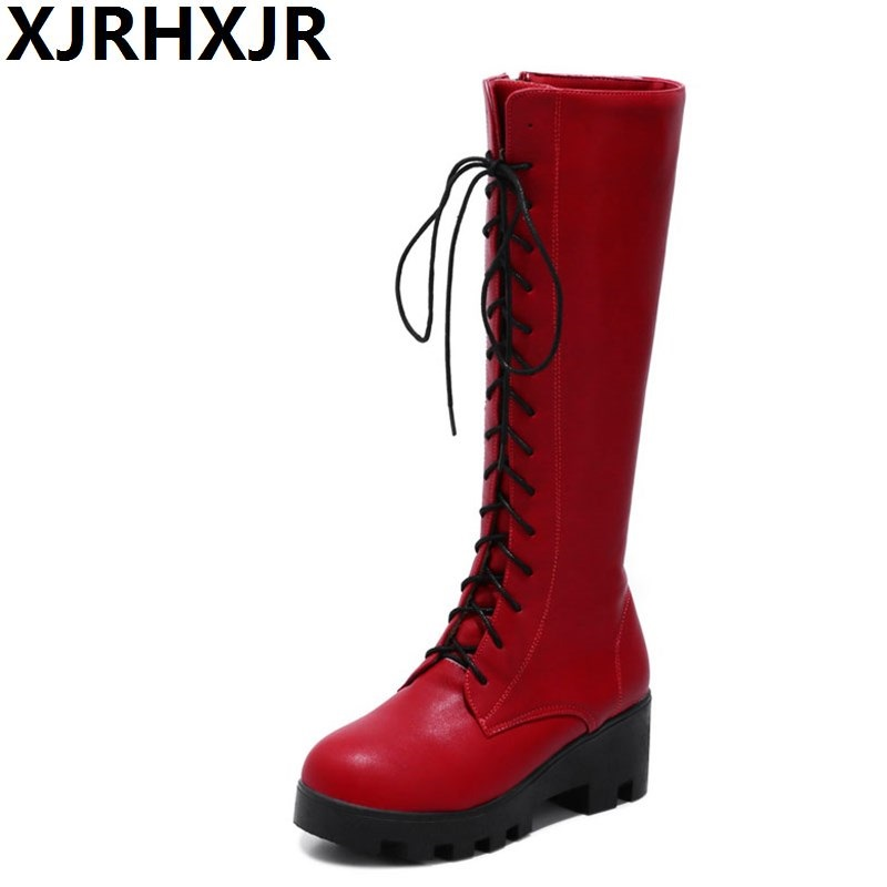 XJRHXJR Red Black White Knee High Boots Womens Shoes Fashion Cosplay Pu Leather Corss Straps Long Boots Ladies High Heels 34-43<br>