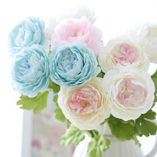 1pc Silk flower Vivid Peony Artificial Flowers Fake Leaf for Party Wedding Home Decorative 9 Colors