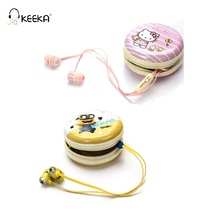 KEEKA Minion Hello Kitty Wired Earphone Cute Candy Color lovely earphone case storage box in-ear Universal for smartphone mp3