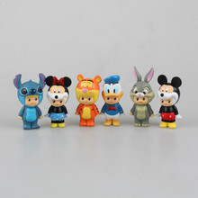 Mickey Mouse Tigger Stitch Donald Duck PVC Action Figure Collectible Model Toy Doll Kids Toys Gifts for Children 8cm KT1321