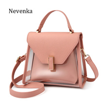 NEVENKA New Fashion Shoulder bag Women Casual solid Handbag Transparent Tote Female Evening Strap Bags Lady Messenger Bags Sac(China)