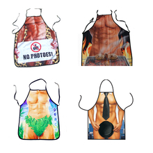 BBQ Printed Sexy Funny Printed Apron Polyester Adjustable Sleeveless Kitchen Cooking Aprons Lovely Rude Cheeky Couple Pinafore