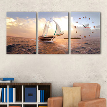 Free Shipping Art Print Sea Sailing Clock in Canvas 3pcs wall clock