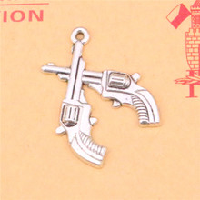 11pcs Tibetan Silver Plated crossed pistols revolvers western Charms Pendants for Jewelry Making DIY Handmade Craft 31*23mm(China)