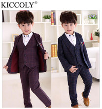 2016 Brand New Boys Lattice Wedding Suit England Style Gentle Boys Formal Suit Children Spring Clothing Sets for Wedding