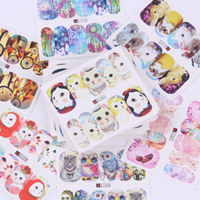 50 Sheets Cute Animal Series Nail Water Decal Set Butterfly Cat Dog Dream Catcher Colorful Nail Art Transfer Sticker(China)