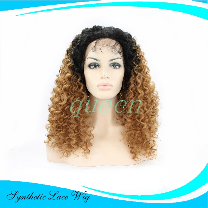 Natural look blonde wig long loose Afro Kinky Curly wigs Brazilian hair synthetic lace front wig heat resistant Synthetic Hair<br><br>Aliexpress
