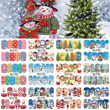 12 Sheets XMAS Nail Art Water Transfer Sticker Full Cover Decals Merry Christmas Santa Stickers Wrap Tips Decoration A1129-1140