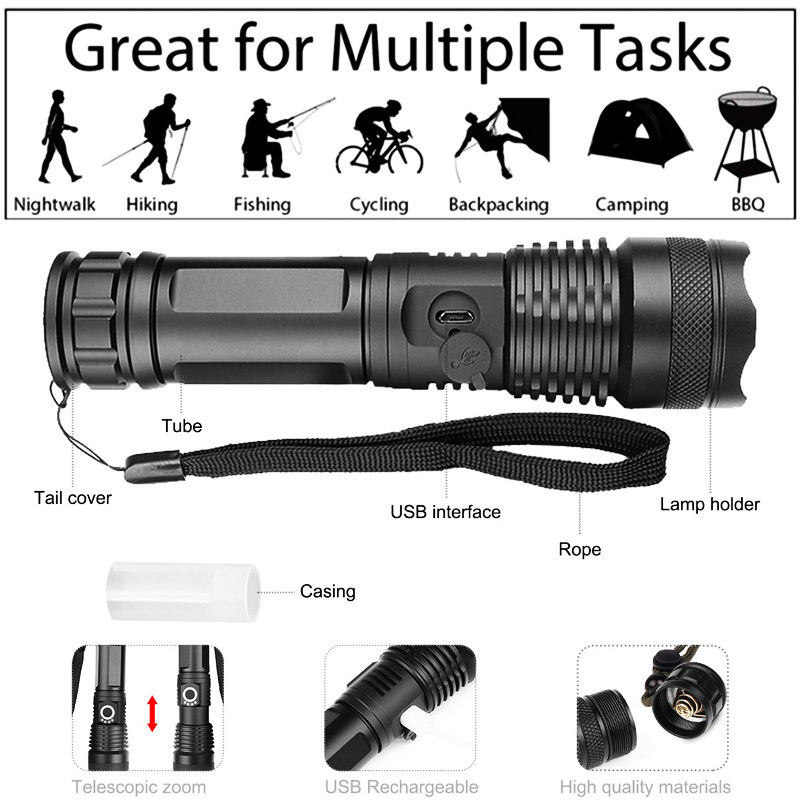 Person - XHP90 LED Flashlight Zoom USB Rechargeable Power Display Powerful Torch 18650 Handheld Light