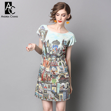 Buy spring summer runway designer womans dresses colorful vintage building pattern print mini dress drawstring belt fashion dress for $48.33 in AliExpress store