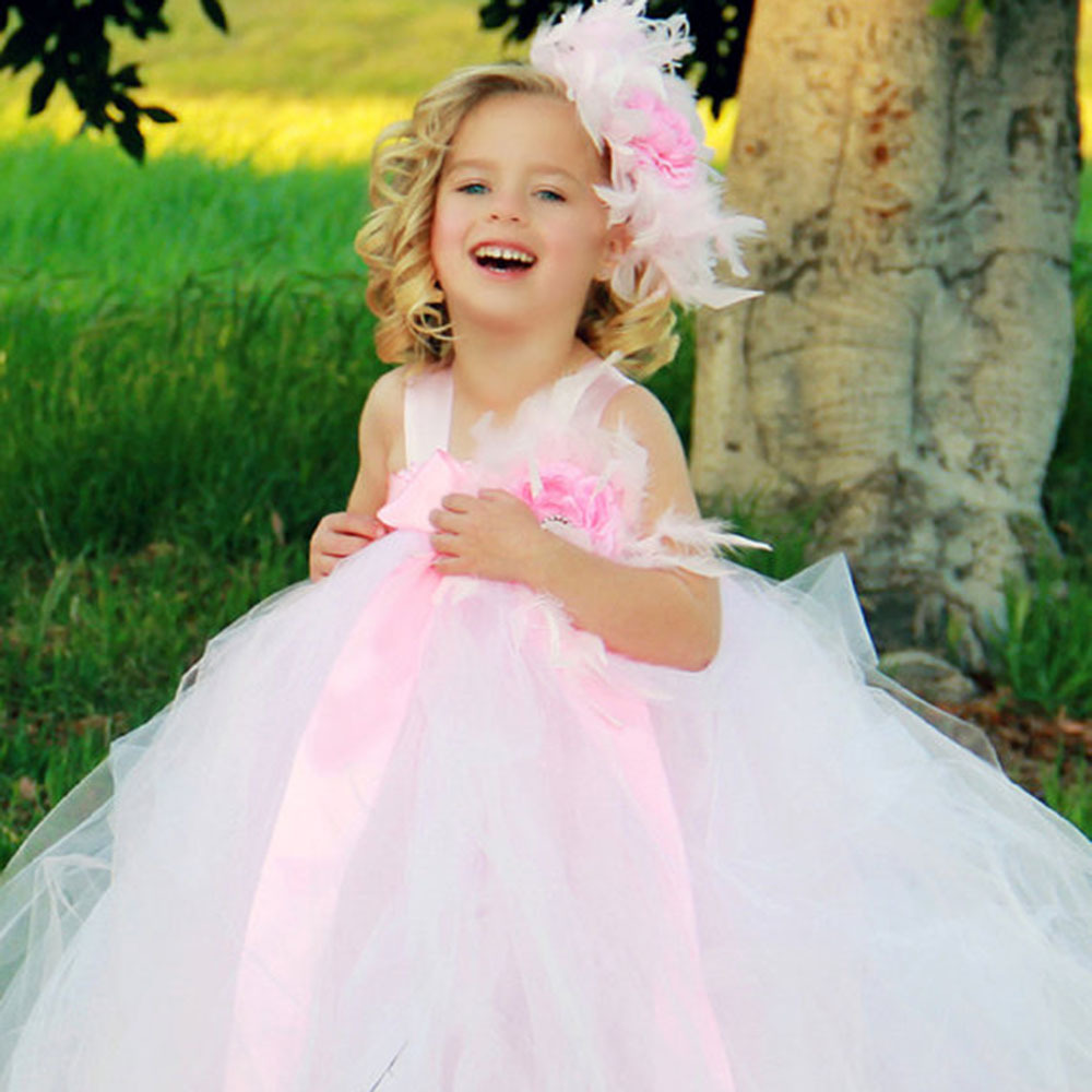 Baby girl dress Spring&amp;Autumn Cotton sleeveless tutu dress Fashion Feather Tulle Princess party Dresses Toddler girls clothing<br>