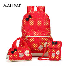 MALLRAT School Bags for Teenagers Girls Schoolbag Large Capacity Dot Printing School Backpack Rucksack Bagpack Cute Book Bags