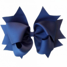 "Free Shipping 120pcs 6"" Navy Large Stacked Boutique Twisted Hair Bow Clip"