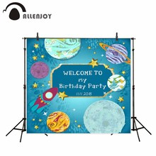 Allenjoy photo backdrops outer space birthday party children rocket blue background photo prop original design for kids