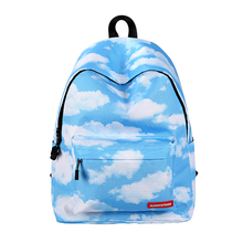 2017 Multicolor Women Canvas Backpack Stylish Clouds Universe Space Backpack Girls School Backbag Mochila Feminina(China)