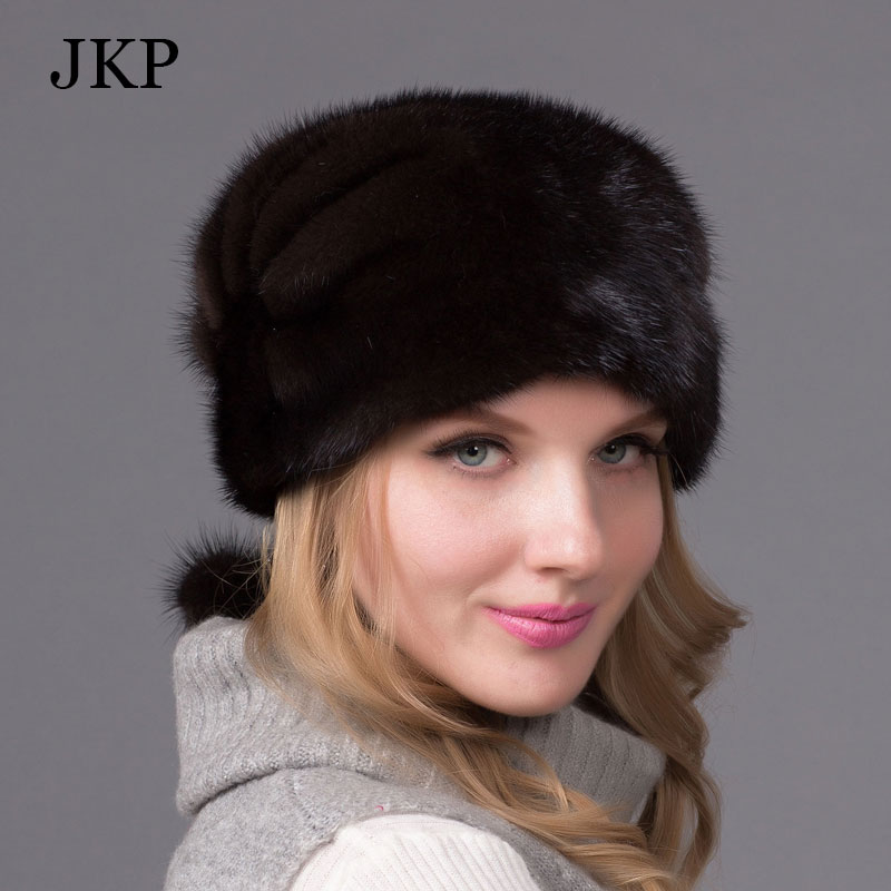 Winter fur hats for women real mink fur hat with fur pom poms and diamond accessories high-end women brand beanieОдежда и ак�е��уары<br><br><br>Aliexpress
