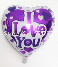Good Quality 10pcs/lot 18 inch Purple Ballon I LOVE YOU Balloons Valentines Day Love You balls Wedding Decorations globos boda