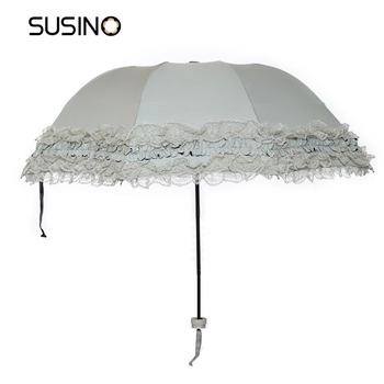 Susino Princess Umbrella Manual Open Sturty Metal Black Coating Compact Ultraslim Durability Umbrella 821013177T