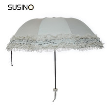 Susino Princess Umbrella Manual Open Sturty Metal Black Coating Compact Ultraslim Durability Umbrella 821013177T(China)