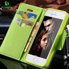 FLOVEME For iPhone 4S Cases New Hit Color Leather Ultra Flip Case For iPhone 4 4S 4G Card Holder Stand Cover Mobile Phone Bag(China)