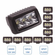 10pcs 15W LED WORK LIGHT MOTORCYCLE CAR AUTO HEADLIGHT 3x5W 12V 24V ATV TRUCK TRAILER UTE BOAT SUV TRACTOR 4X4 DRIVING FOG LAMP