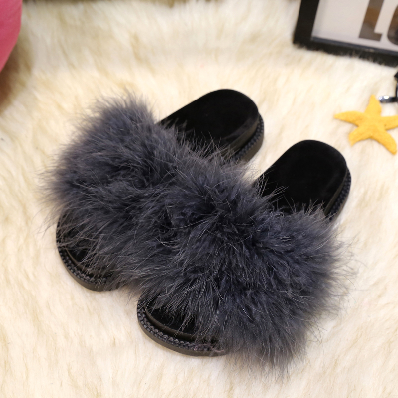 5 colors sweet candy color summer women natural ostrich hair slippers mules women open toe sandals flat shoes<br><br>Aliexpress
