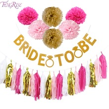 FENGRISE Glitter Bride To Be Banner Wedding Decoration Garland Gold Paper Tassels Bridal Shower Hen Bachelorette Party Supplies(China)