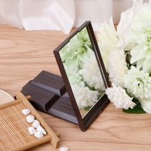 1 PC Cute Square Pocket Mirror Mini Foldable Chocolate Cookie Shaped  Mirror Makeup Mirror Dark Coffee/Light Coffee