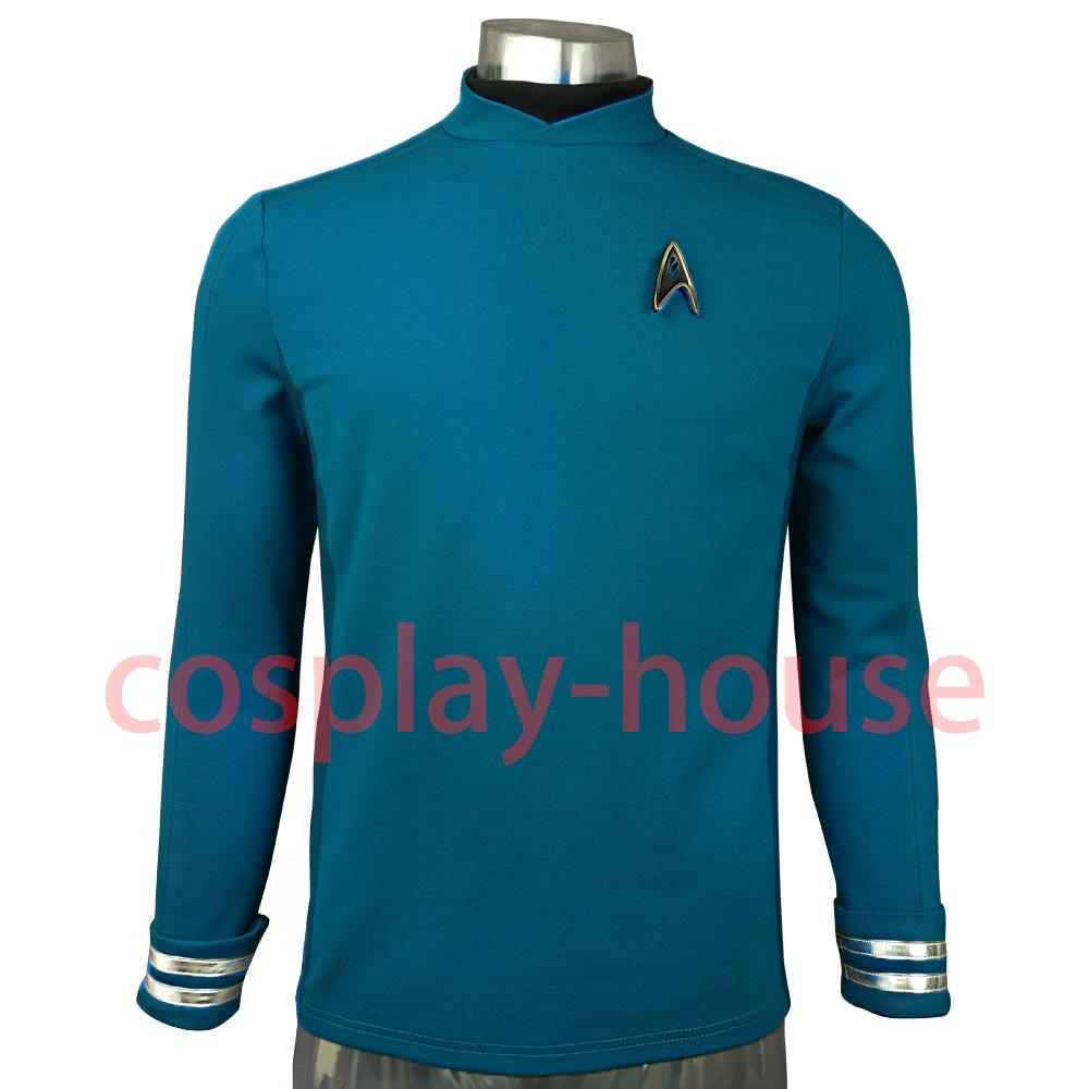 Cosplay Star Trek Custume Beyond Blue Captain Kirk Uniform Spock Blue Uniform Badge Scotty Red Halloween Party Prop (3)
