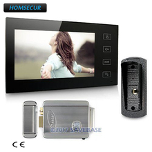 "HOMSECUR High Quality Video Door Phone System 7"" Monitor 700TVL Camera 1v1 Electronic Lock"