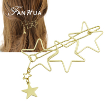 FANHUA New Coming Fashion Hair Jewelry Gold-Color 4 Star Geometric Barrettes Hairwear for Women