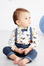 0 ~ 3 years old children's clothing 2017 European and American boy print dinosaur strap trousers Two-piece suit(China)