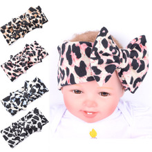 Soft Big Bow Leopard Fabric Turban Headband With Animal Pattern For Girls Stretch Knotted Hair Band Headwrap