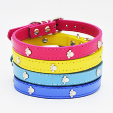 Brand New Cute 4 Colors Paw Pet Dog Collars Durable PU Leather Adjustable Puppy Cat Strap Collars Pet Products Free Shipping