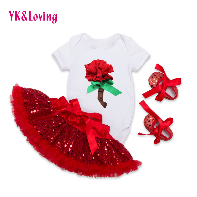 Girls Show Clothes Sets for Performance Paillette Tutu Skirt  White Romper Bling Material Skirt Cute Red Toddler Shoes F5017<br><br>Aliexpress