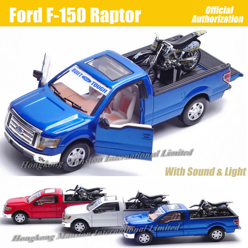 For Ford F-150 Raptor 1:32 Scale Diecast Alloy Metal Car Model Collection Model Pull Back Sound&Light Toys Car With Motorcycle(China)