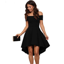 Buy 2017 Fashion Office Lady Dress Women Summer Casual Off-Shoulder Asymmetric Party Evening Swing Short Knee Length Dresses Popular for $9.43 in AliExpress store
