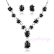 Mytys Crystal Black Jewelry Sets cheap fashion jewelry sets for women Necklace and Earrings set N99