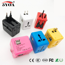 Universal Travel Adapter Electric Plugs Sockets Converter US AU UK EU with Dual USB Charging 2.1A Electrical Power Plug European(China)