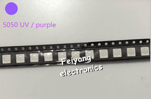 200pcs Water Clear LED Light Diode 5050 uv/purple SMD/SMT High Power LED PLCC-6 3-CHIPS Super Bright lamp light High quality