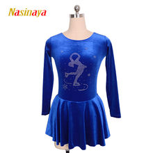 Customized Costume Ice Figure Skating Gymnastics Dress Competition Adult Child Girl Skirt Performance Blue Skater Rhinestone(China)