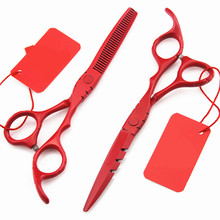Professional 6 & 5.5 inch Japan 440c hair scissors set thinning barber cutting hair shears scissor tools hairdressing scissors(China)