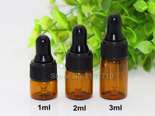 50pcs/lot Mini 1ml 2ml 3ml Amber Glass Dropper Bottle Essential Oil Display Vials Small Serum Perfume Brown Sample Test Bottle