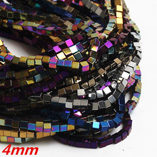 "4mm Cube Natural Stone Hematite Shamballa Beads 16"" Per Strand Spacer Beads For Jewelry Making DIY Necklace Bracelet"