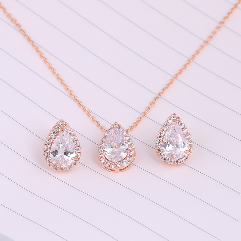Nigerian Water Drop Cubic Zirconia Wedding Jewelry Sets inlay Luxury Crystal Bridal Jewelry Set Gifts For Bridesmaids AS099 7