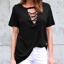 2017 new  new v neck bandage solid sexy hot Fashion Womens Summer Short Sleeve Shirt Casual  Loose Cotton Tops T Shirt
